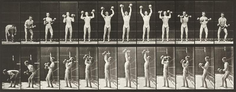 Man in pelvis cloth lifting weights (Animal Locomotion, 1887, plate 322)