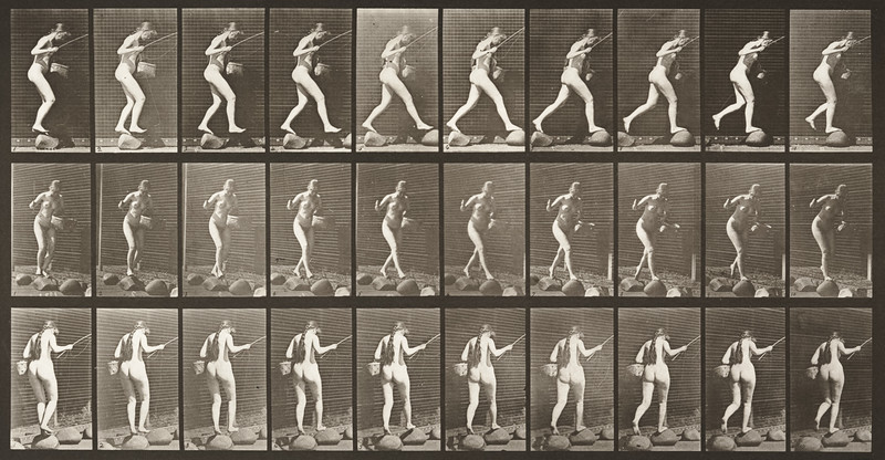 Nude woman crossing brook on stepping-stones (Animal Locomotion, 1887, plate 176)