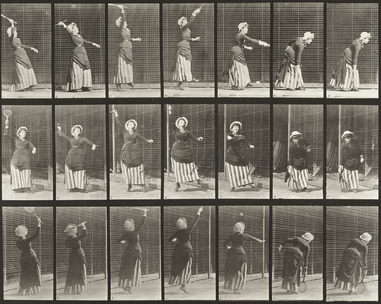 Woman in long dress playing lawn tennis (Animal Locomotion, 1887, plate 298)