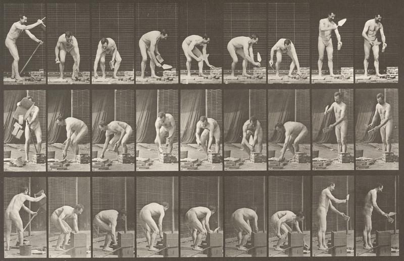 Man in pelvis cloth laying bricks (Animal Locomotion, 1887, plate 505)