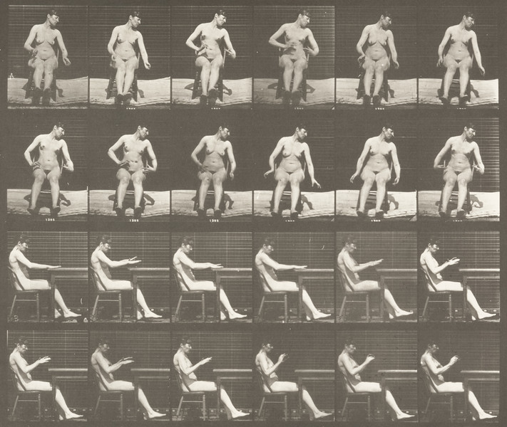 Nude woman sitting with artificially induced convulsions (Animal Locomotion, 1887, plate 545)