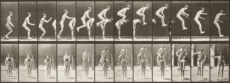 Nude boy jumping over a boy's back (Animal Locomotion, 1887, plate 168)