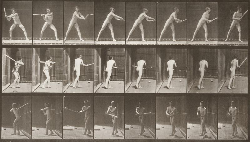 Nude man playing baseball, batting (Animal Locomotion, 1887, plate 277)