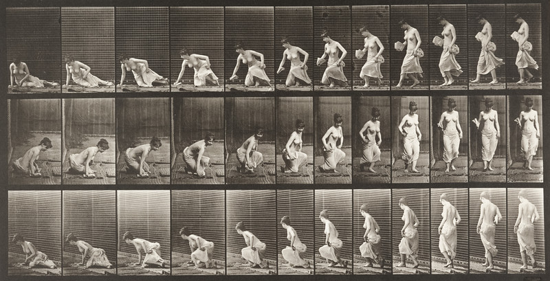 Partially draped woman sitting down on the ground (Animal Locomotion, 1887, plate 248)