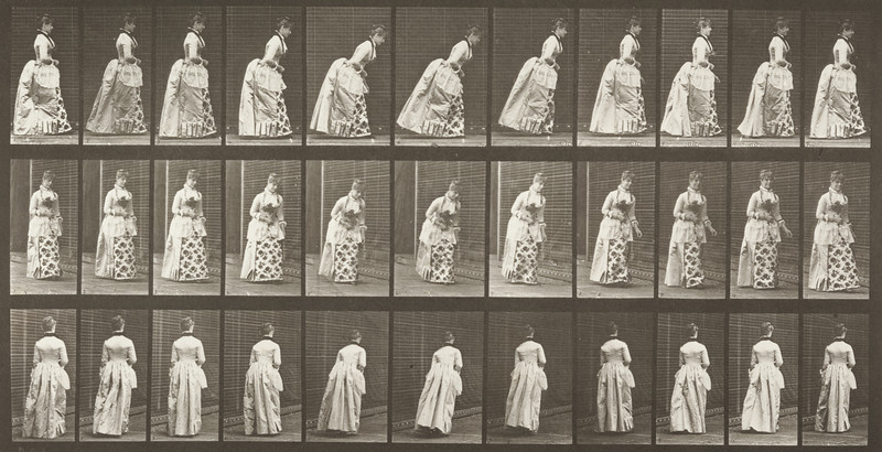 Woman in historical costume curtseying (Animal Locomotion, 1887, plate 198)