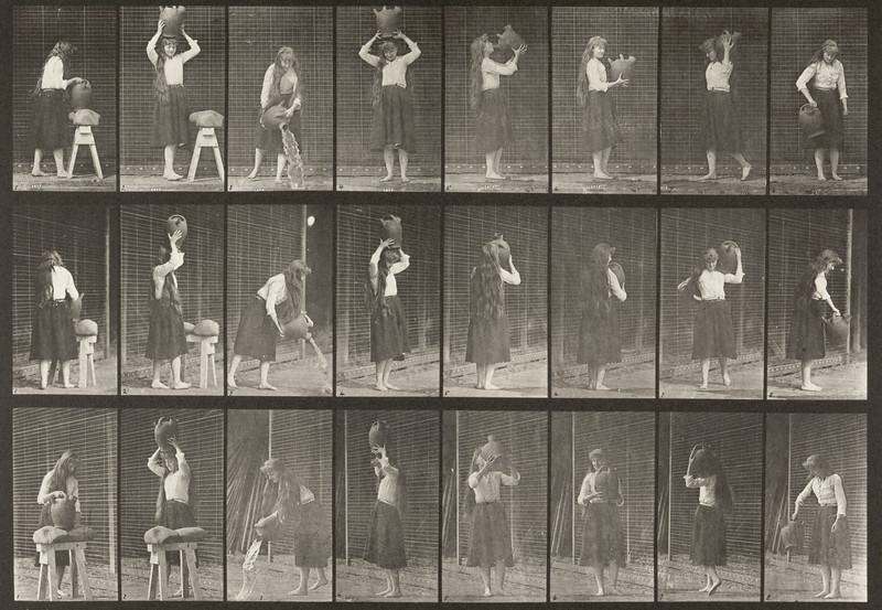 Draped woman making miscellaneous movements with a water jar (Animal Locomotion, 1887, plate 517)