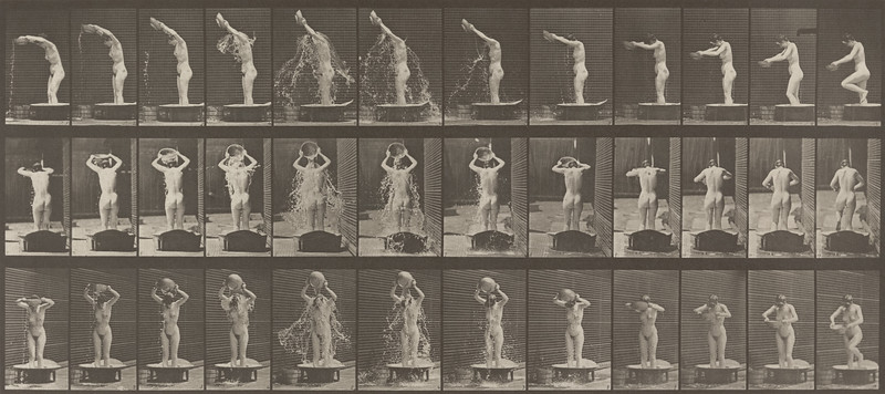 Nude woman pouring water over head (Animal Locomotion, 1887, plate 409)