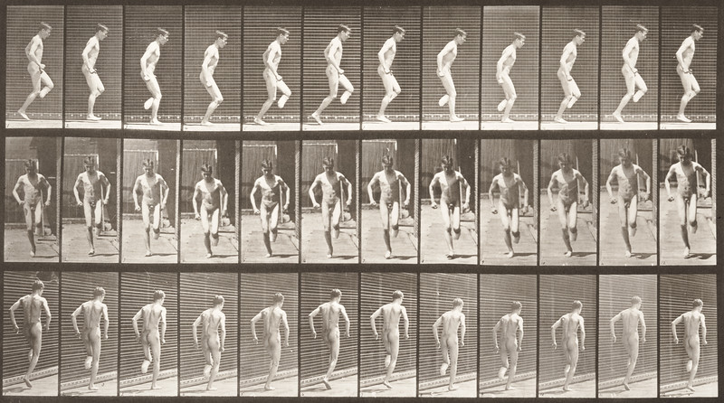 Nude man hopping on right foot (Animal Locomotion, 1887, plate 186)