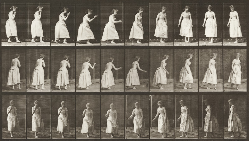 Woman in long dress curtseying, kissing hand and turning around (Animal Locomotion, 1887, plate 200)