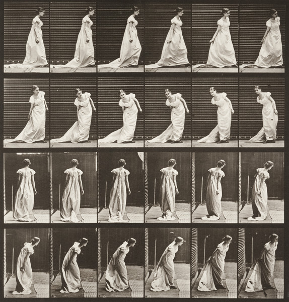 Woman stooping to arrange train and turning (Animal Locomotion, 1887, plate 231)