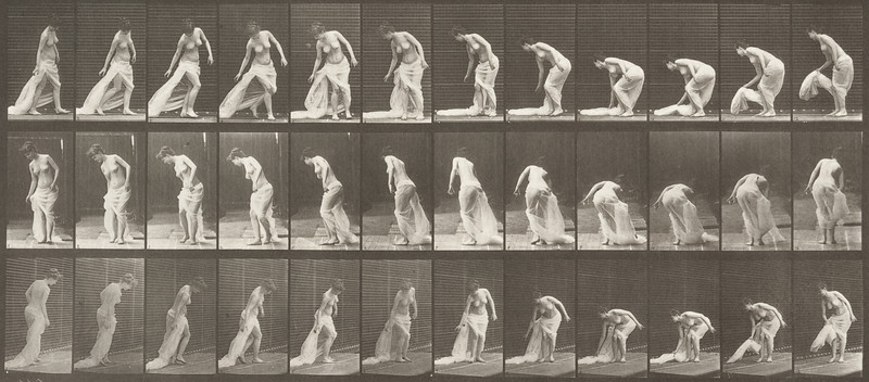 Semi-nude woman stooping to lift train and turning (Animal Locomotion, 1887, plate 232)