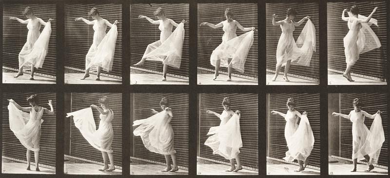 Woman in dress dancing (Animal Locomotion, 1887, plate 189)