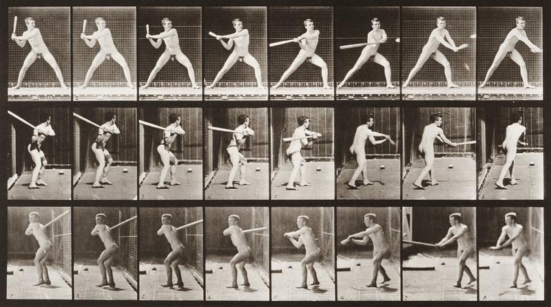 Nude man playing baseball, batting (Animal Locomotion, 1887, plate 276)