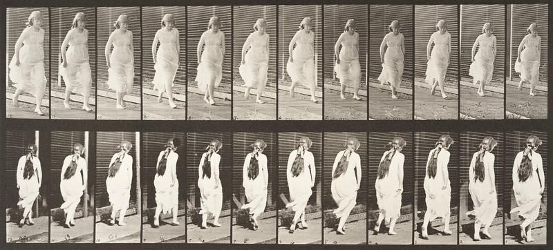 Semi-nude woman running (Animal Locomotion, 1887, plate 71)