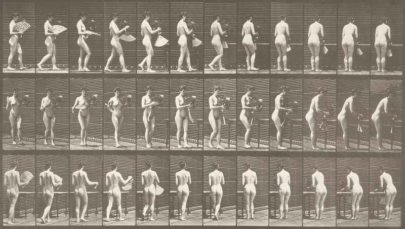 Nude woman carrying a vase and placing it on a table (Animal Locomotion, 1887, plate 441)