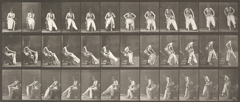 Nude woman rising from a chair and putting on clothing (Animal Locomotion, 1887, plate 420)
