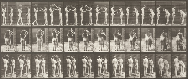 Nude woman taking a water jar from the shoulder of another woman (Animal Locomotion, 1887, plate 447)