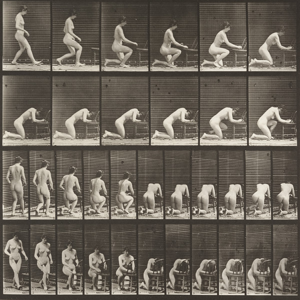 Nude woman kneeling, elbows on chair and hands clasped (Animal Locomotion, 1887, plate 254)