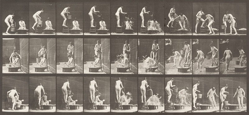 Nude woman pouring water on a nude woman (Animal Locomotion, 1887, plate 408)