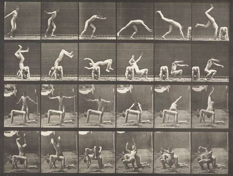 Nude man doing a handspring over another nude man's back (Animal Locomotion, 1887, plate 364)