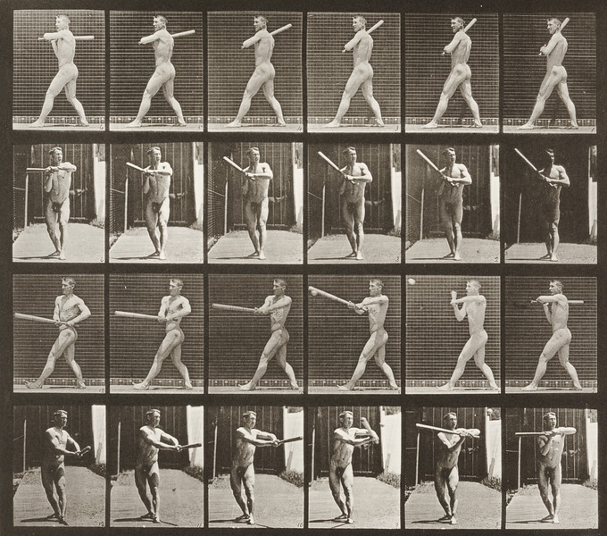 Nude man playing baseball, batting (Animal Locomotion, 1887, plate 274)