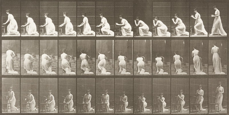 Semi-nude woman kneeling, elbows on chair and hands clasped (Animal Locomotion, 1887, plate 253)