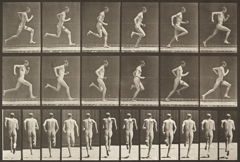 Nude man running at full speed (Animal Locomotion, 1887, plate 62)