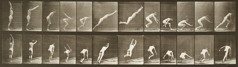 Man in pelvis cloth standing and jumping (Animal Locomotion, 1887, plate 162)