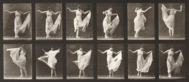 Woman in long dress dancing (Animal Locomotion, 1887, plate 187)