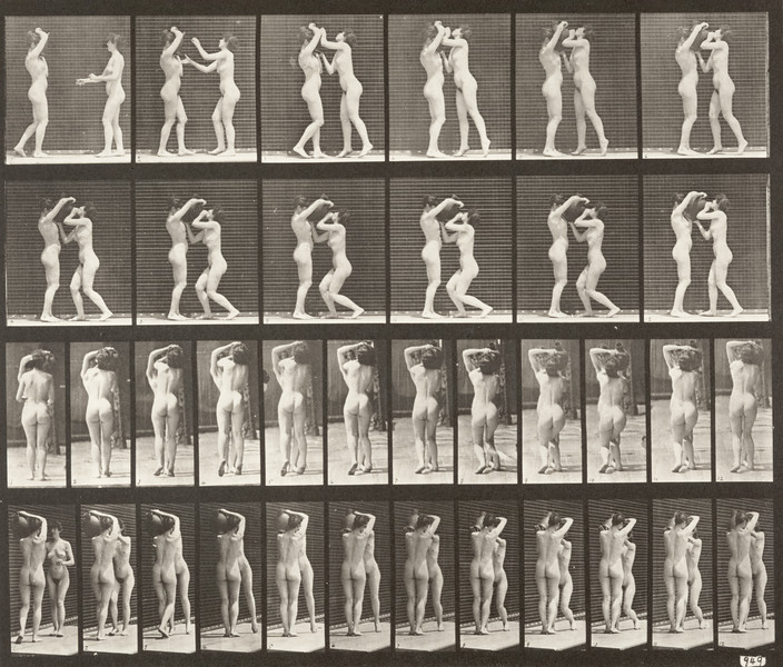 Nude woman drinking from the water jar on the shoulder of another (Animal Locomotion, 1887, plate 445)