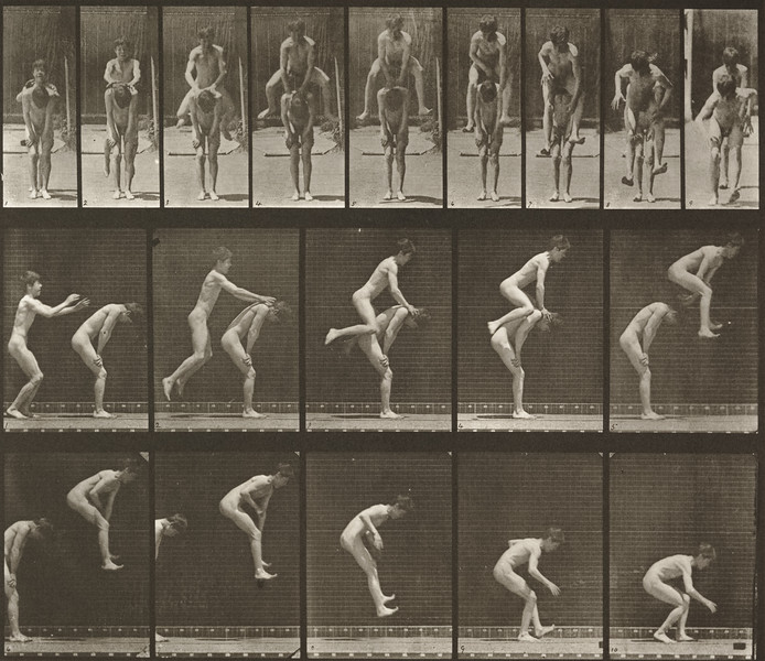 Nude boy jumping over a boy's back (Animal Locomotion, 1887, plate 167)