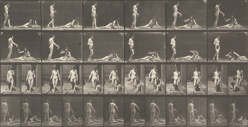 Nude woman standing and filling a goblet and the other drinks while lying on the ground (Animal Locomotion, 1887, plate 485)