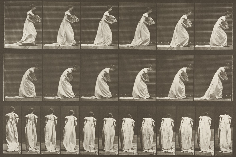 Woman in long dress curtseying, a fan in right hand (Animal Locomotion, 1887, plate 199)