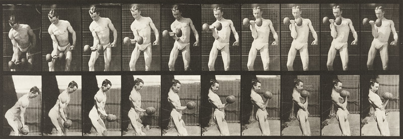 Man in pelvis cloth lifting weights (Animal Locomotion, 1887, plate 324)