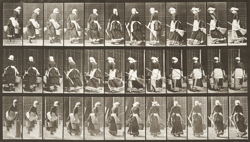 Woman turning to ascend stairs with a bucket of water and broom in hands (Animal Locomotion, 1887, plate 107)