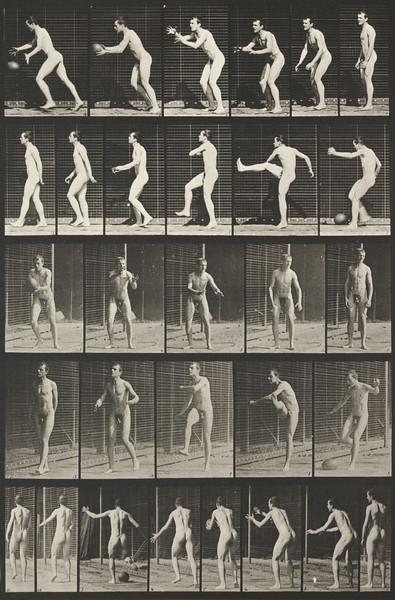 Nude man playing football, drop kick (Animal Locomotion, 1887, plate 300)