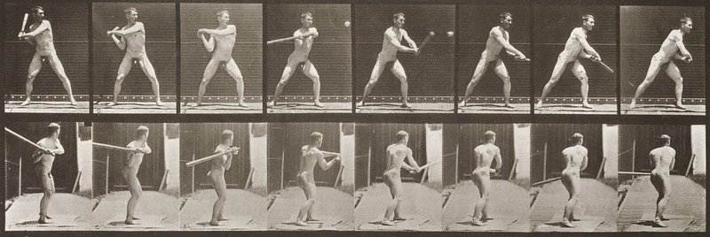 Nude man with baseball bat (Animal Locomotion, 1887, plate 279)