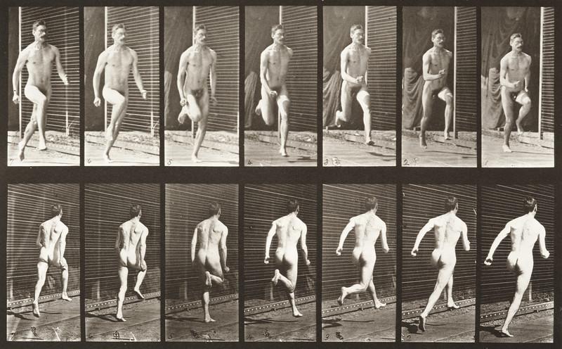 Nude man running (Animal Locomotion, 1887, plate 66)