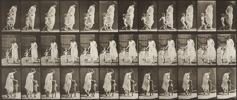 Semi-nude woman running and leading a naked child hand in hand (Animal Locomotion, 1887, plate 72)