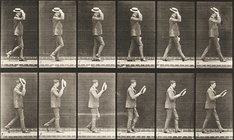 Man walking and taking off a hat (Animal Locomotion, 1887, plate 44)