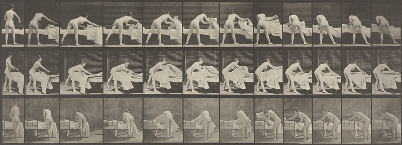 Nude woman making up a bed (Animal Locomotion, 1887, plate 436)