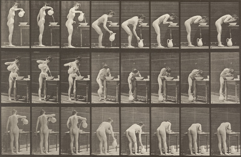 Nude woman washing face (Animal Locomotion, 1887, plate 413)