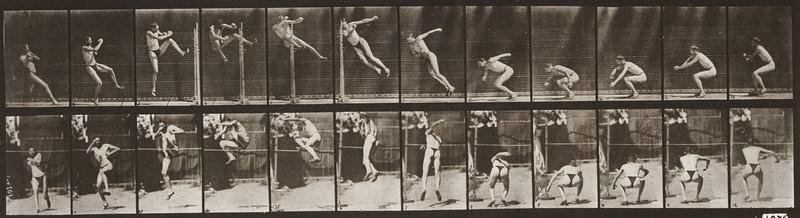 Man in pelvis cloth jumping horizontal bar (Animal Locomotion, 1887, plate 157)