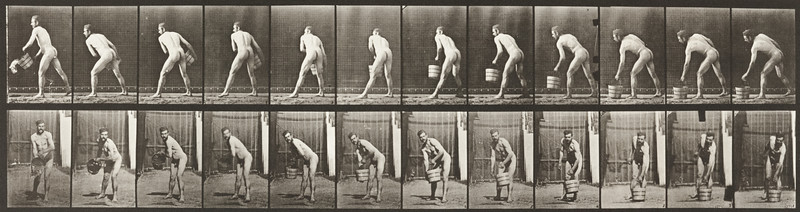 Nude man lifting a bucket of water to empty it (Animal Locomotion, 1887, plate 398)