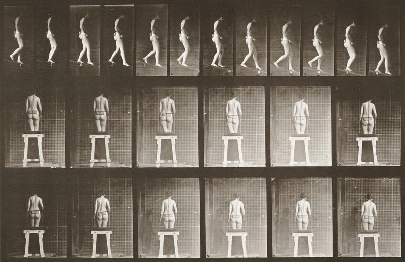 Nude woman descending an incline (Animal Locomotion, 1887, plate 118)