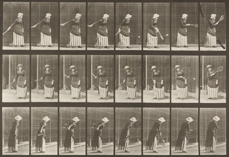 Woman in long dress playing lawn tennis (Animal Locomotion, 1887, plate 297)