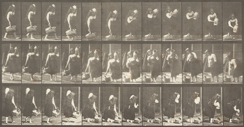 Draped woman carrying a jar on her shoulder and a basket in her hand then placing them on the ground (Animal Locomotion, 1887, plate 460)