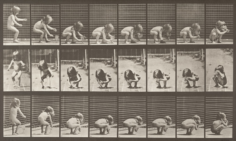 Nude child stooping and drinking (Animal Locomotion, 1887, plate 477)