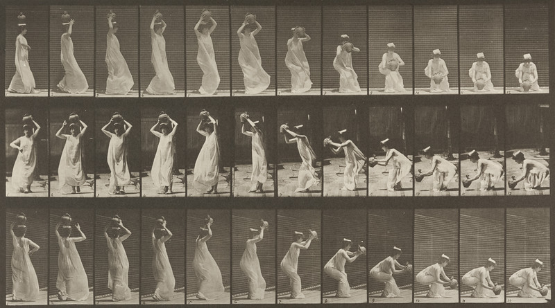 Semi-nude woman carrying a water jar on head, turning and placing it on the ground (Animal Locomotion, 1887, plate 206)