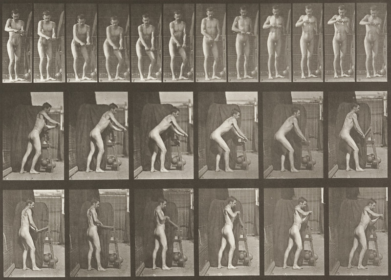 Nude man turning a crank handle (Animal Locomotion, 1887, plate 395)